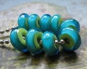 Lampwork Glass Discs - encased tropicals -  Handmade Glass Bead Set from Ellen Dooley SRA (8)