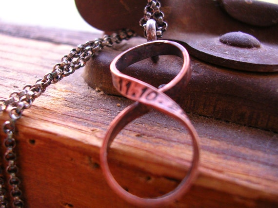 Gift For 19th Wedding Anniversary: Bronze Custom Infinity Necklace Hand Stamped Name Or Date Or