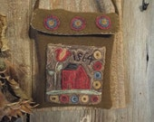 E Pattern Punch Needle Brick Red Saltbox Primitive Wool Bag