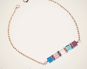 Sweet and Petite Birthstone Bracelet with FIVE crystals, gift for mom