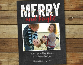 Holiday photo card printable chalkboard style, Christmas cards Merry and Bright, printable or printed cards with free overnight shipping