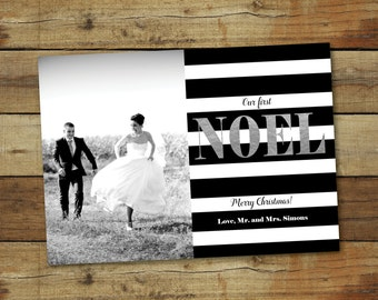 Our first Noel, Just married Christmas card, Christmas marriage announcement, sparkly silver holiday card, silver foil look