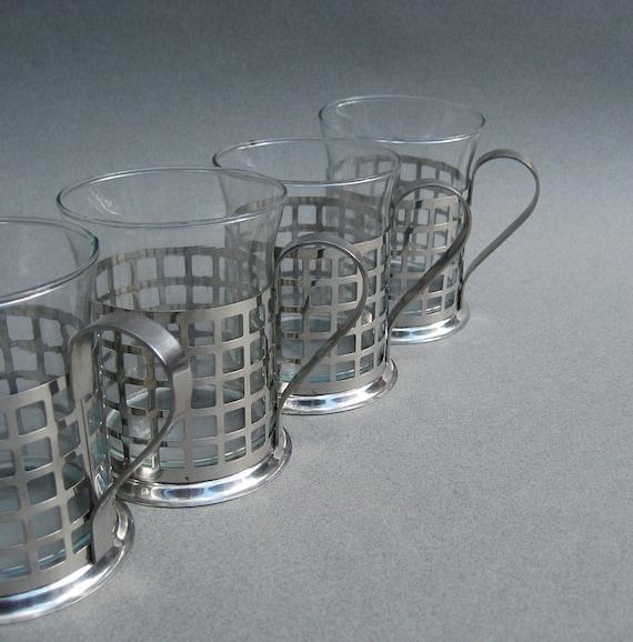 Modern Metal Sleeve Industrial Glass Coffee Mugs Latte Cups