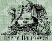 Digital Download Memento Mori Gothic Skull Serpent Snake Halloween digi stamp, Digital Transfer, Scary Caldron of Death