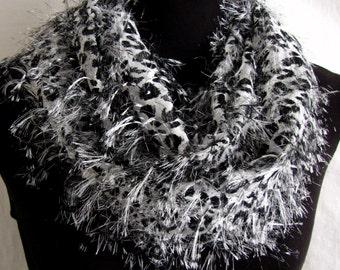 Scarf #Circular #Infinitive #Animal footprints #High Fashion Accessory #Black White