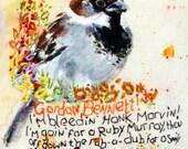 "Sparrow Art 6"" x 4"" prints.  Naughty birds. Parent advisory warning. Cockney slang"
