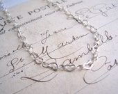 SALE Delicate Silver Hearts necklace - beautiful fine chain - handmade
