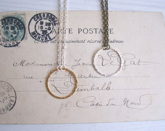 Silver and Brass Bubble necklace - mixed metals - simple hammered silver circle on golden brass - handmade