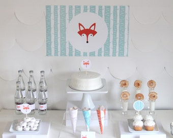 PRINTABLE fox party (or foxy mama baby shower) decor, labels and signs- complete fox printable party kit by kojodesigns