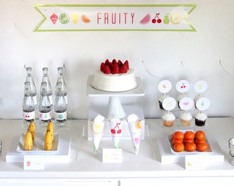 PRINTABLE fruit party decor, labels and signs- complete fruit printable party kit by kojodesigns
