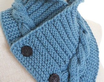 Knit Cowl in medium blue, neckwarmer, scarf with buttons. Women Accessory Winter Fashion