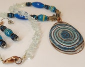 Copper Enameled Pendant and matching Earrings / aqua blue twilight sky gray / glass and stone beads