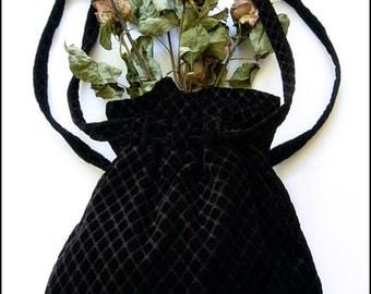 Decadent Black Embossed Velvet Shoulder Bag Purse - Brand New by Kambriel