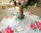 1950s Tabletop Tree Skirt made from a Vintage Tablecloth