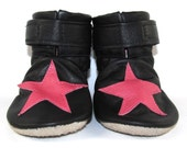 Soft Sole Black Leather Stars Baby Boots Shoes 6 to 12 Month