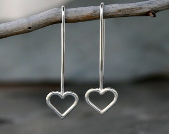 Sterling Silver Open Heart Earrings, Mother's Day Jewelry Love Charm Dangle Drop Earrings Modern Minimalist Line Valentine's Day Gift