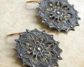 Gray Patina Drop Earrings, Gray Metal Chandelier Earrings,  Dangle Earrings, Filligree Earrings, Filigree Drop Earrings