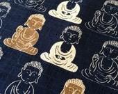 HALF YARD Blue Buddha Cosmo Japanese cotton dobby fabric