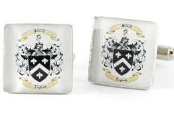 Grooms Gift from Bride, Anniversary Gifts for Men Sterling Silver Family Crest Cufflinks Custom Made to Order, Square