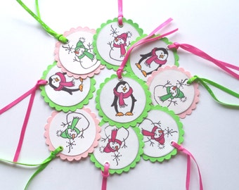 Christmas Tags, Lime Green and Pink Snowman Penguin Gift Tags, Set of 9