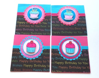 Mini Birthday Cards, 4x4 Inches, Set of 4, Turquoise and Pink, Cupcake Cards, Birthday Cake Cards, Happy Birthday
