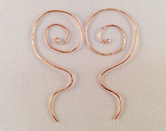 Copper Spiral Earrings Redux