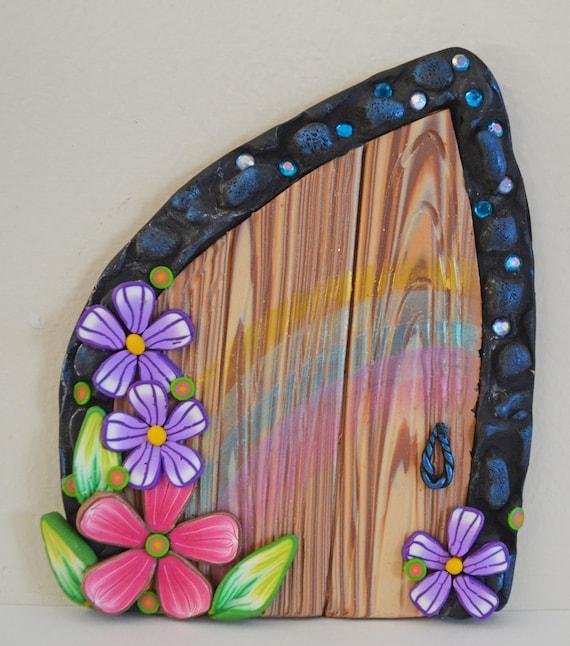 Spring rainbow fairy door miniature fairy door fairy garden for Rainbow fairy door