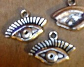eye charm pendant silver color jewelry findings supplies quantity four   CCB19 face parts