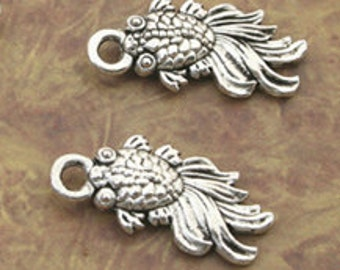 fish charm pendant silver color jewelry findings supplies quantity five gold fish koi  CCB19