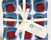 fused glass coasters. blue, red glass coasters. square coasters. set of 4.