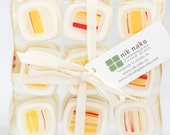 fused glass coasters. red, yellow, cream glass coasters. stripe coasters. square coasters. set of 4.