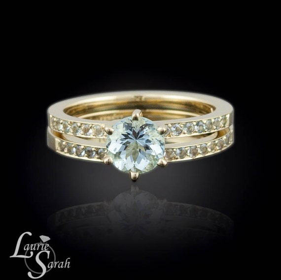 Aquamarine engagement ring aquamarine solitaire engagement for Wedding rings aquamarine