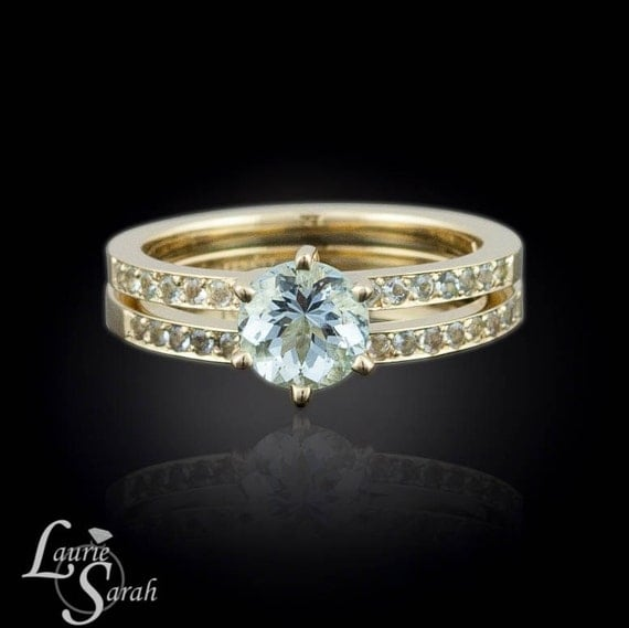 Aquamarine Engagement Ring Aquamarine Solitaire Engagement