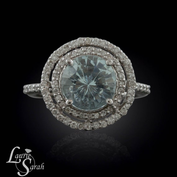 Round Aquamarine and Diamond Double Halo Ring - March Birthstone - LS1533