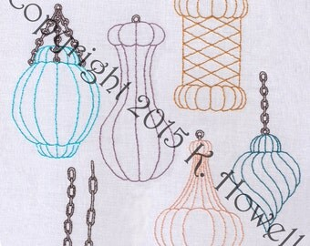 Hand Embroidery Pattern-Venetian Lamps 2