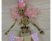 Cute Shabby Chic Skeleton Trick or Treater Halloween Decoration Halloween Ornament Halloween Party