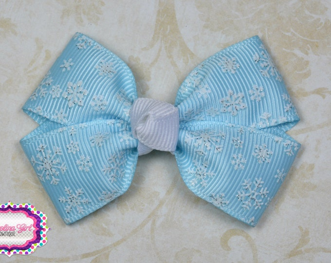 Blue Snowflakes Hair Bow ~ Girls Hair Bows ~ Toddler Hair Bows ~ Small Hair Bows ~ Small Hair Barrette ~ Hair Bows for Girls