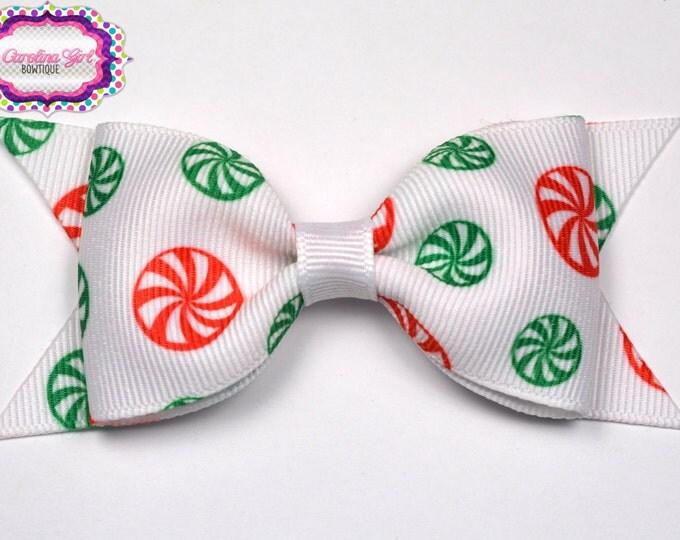 "Christmas Peppermints Tuxedo Bow ~ 3.5"" Hairbow ~ Small Hair Bow ~ Girls Barrette ~ Toddler Bow ~ Baby Hair Bow ~ Hair Clip ~ Girls Hair Bow"