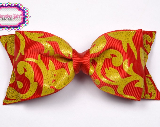 """Red w/ Gold Damask Tuxedo Bow ~ 3.5"""" Hairbow ~ Small Hair Bow ~ Girls Barrette ~ Toddler Bow ~ Baby Hair Bow ~ Hair Clip ~ Girls Hair Bow"""