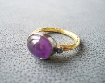Unique SILVER Amethyst Stone ring