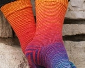 Over the Rainbow Gradient Stripes Matching Socks Set, 2-50g Cakes, Greatest of Ease (dyed to order)