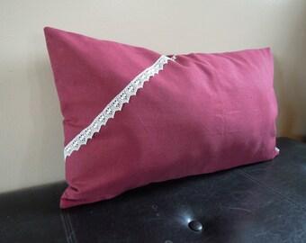 Organic Wine and Lace Pillow,  Hemp/Organic Cotton, 14x24, Decorative Throw Pillow, Red