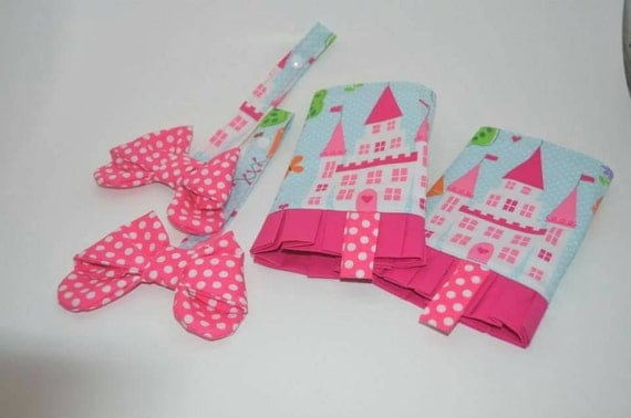 Custom castle suck pads and polka dot bow reach straps