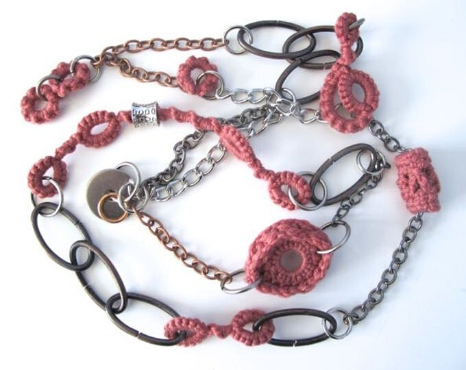 "Fiberpunk™ Necklace - Rose Quartz Pink - Extra Long 23"" / Fiber Jewelry / Crochet Jewelry / Tatted Jewelry"