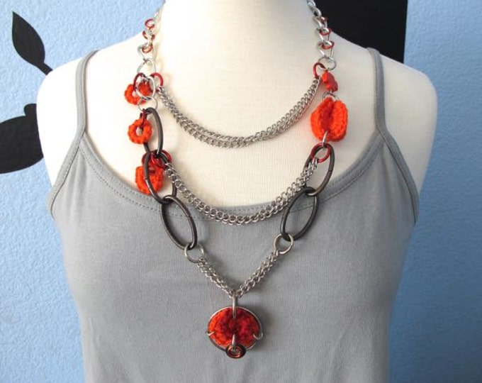 "Fiberpunk™ Necklace - Orange and Red - Multi-Chained - Long 16"" / Fiber Jewelry / Crochet Jewelry / Tatted Jewelry"