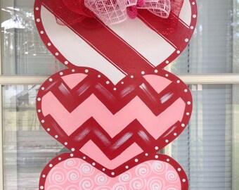 Front Door Decor, Valentine Door Hanger, Valentine Decorations, Valentine  Triple Valentine Hearts!