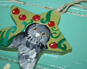 Dream Owl Wooden Ornament Animal Art Bird Art Acrylic Wooden Hanger Berries Magical Nature Owl Ornament Spirit Animal Bird Mythology