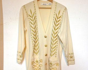 Hip Hop Sweater 80s Steampunk Jacket Cardigan Size 10 Wool Stars Prince