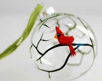Christmas Cardinal Ornament, Hand Painted Personalized Glass Christmas Ornament - Cardinal Ornament, Red Bird, Christmas Bulb, Glass Bulb