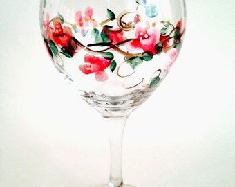 Rose Hand Painted Wine Glass, 20  oz.